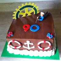 "90Th Birthday 10"" square cake for my neighbor's 90th birthday. Fondant decorations represent different aspects of his life: rotary club, sharp..."