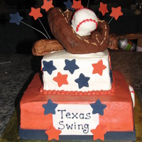 Softball Team Cake This cake was done for a softball team end of season party. The cake is iced in buttercream with fondant accents in the team colors. Bat,...