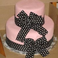 "Another Pink And Black Cake 10"" and 6"" round Pink mmf with black polkadot ribbon and bows. Really upset about this one...the customer never showed up for it..."