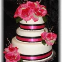 "Pink And Black 10"" / 8"" / 6"" Rounds...Red Velvet cake, BC Filling, MMF Silk Ribbon and Flowers...made for a small wedding shower with the..."
