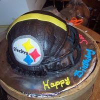 Steelers Helmet Birthday Cake For Teen Boy This cake was made for a teen boy on his birthday. He is a big Steelers fan. I used 2 8 inch round wilton pans for bottom and the wilton...