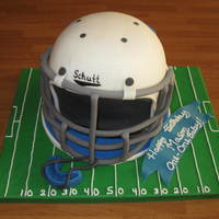 Mason's Jc Footbll Helmet This is the cake I made for my friend's son's birthday on Halloween! He plays for the junior jays team here in Junction City, KS...