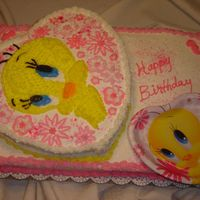 Tweety This was a pattern transfer from Birthday theme party plate. I used a 12in heart cake on top of a 12x18 sheet cake. I think I did ok for a...