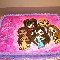 Bratz Cake My second FBCT. I tried to airbrush flowers on the background with Wilton icing spray, but it turned into a mess so I took a brush and...