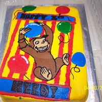 Curious George Fbct   9x13 cake with a FBCT of Curious George