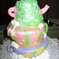 Tea Party This is my first topsy turvy cake. It's designed to look like the Mad Hatter's Tea Party.