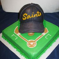 "T-Ball Cake This cake was inspired by the cap cake done by ""MsSugarBaker"". The cap and cake are covered in MMF."