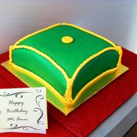 Morrocan Themed Birthday - For Male Birthday cake for Man whose party was Morrocan themed... Wife wanted simple cake to resemble pillow. It was my first attempt at pillow cake...