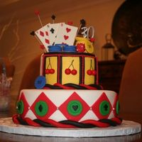 Poker Cake Top tier is meant to look like a slot machine. all decorations are made out of fondant.