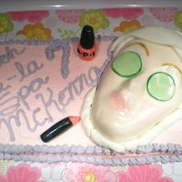 Spa Cake  Made this cake for my daughter's 7th bday spa birthday party. The face is a party store mask covered in fondant. Lipstick and nail...