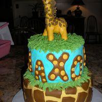 Giraffe Cake   Buttercream with fondant decorations for 1 yr old's birthday