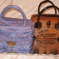 Purse Cakes done for the birthday of a coworker's sister. She gave me the pics of Gucci and Prada cakes she wanted and I went from there. No way I...