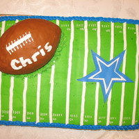 Chris' Cake BD Cake for a Cowboy fan. 1/2 sheet - WASC and strawberry. Football is RKT.