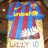 Fc Barcelona Jersey Barcelona jersey for my daughter's 10th birthday. She is a goalie so she asked goalie gloves too. Devils food cake with devil dog...