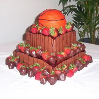 Basketball Delight Dark choc w/ cream choc frosting. Chocolate covered strawberries