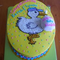 Stork.jpg   Shower for a friend who saw a stork invitaion and wanted it on her cake. 2 layer oval yellow cake w/ pineapple filling. Iced in BC.