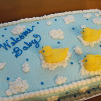 Duck Baby Shower Buttercream icing with fondant ducks
