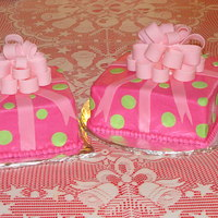 Pink Present cream cheese pound with buttercream icing and fondant bow and accents. These were the first present cakes with fondant bows that I made.
