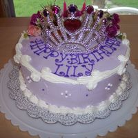 Princess Lily Cake   buttercream, with fresh flowers