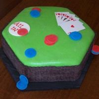 Poker Table Choc. Cake, fondant covering and poker chips. Card's not edible.