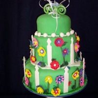 "Flower Garden Cake covered in Marshmellow fondant. I love the ""Durable Cake for 3D and Wedding Cakes"" recipe from CakeCentral. My 5 year old..."