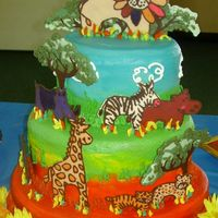 Safari Cake Varigated Buttercream Icing technique, with piped accents and Reverse-pour Milticolor Chocolate animals and trees.