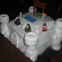 Snow Castle Club Penguing My son asked for a castle/Club Penguin cake for his birthday. So, this is what I came up with! A snow castle with piles of snowballs and...