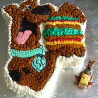 Scooby Cake This was my first attempt at making a simple cake. I used the Wilton scooby cake, and iced with butter cream stars all over apart from the...