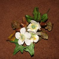 Christmas Spray Spray made with Gumpaste christmas roses, Acorns, Oak and Ivy leaves and rose leaves.Please feel free to offer constructive critisism.