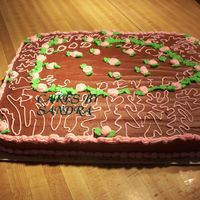 Chocolate Good Luck Cake This is a french vanilla cake with cbci and buttercream decorations. It is for my daughter's student teacher surprise party!