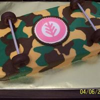 Camo Skateboard All BC with fondant symbol in center.