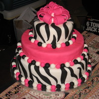 Bat Mitzvah Zebra Cake Designed by the Bar Mitzvah Girl herself! Banana cake w/Peanut Butter Filling!