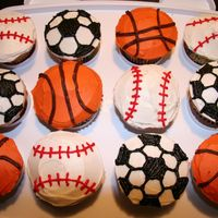 Sport Ball Cupcakes Made at my younger son's request. This was actually a lot of fun!