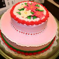 Holiday Poinsettia Cake Cake was mint chocolate with crushed candy canes between layers, decorated in mint buttercream icing. Poinsettias were product of my Wilton...