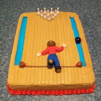 Bowling Birthday Cake  This is for my son's 29th birthday. We are going bowling and I tought this would be fun. That is him flying down th alley. Cake is a...