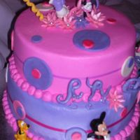 Minnie Mouse Cake 2 tiered all buttercream cake with fondant accents
