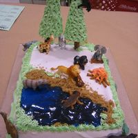 Forest Cake   the animals are plastic, but the piping gel lake and ice cream come trees were fun!!