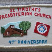 "Church's Anniversary This big slab, 17"" x 11"" was in celebration of the church's anniversary. The church and logo were colour flow, from photos I..."