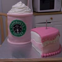 Strawberry Frapuccino And Cake