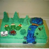 Camping Cake THIS CAKE WAS FOR MY HUSBANDS YEAR END PARTY FOR HIS CUB PACK. THE CAMPERS ARE MADE FROM TWINKIES. THERE IS A BEAVER DAM TO REPRESENT THE...