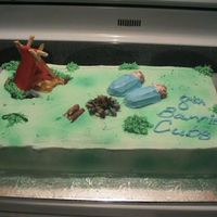 Camping Cake Cake made for husbands cub pack year end bbq. Everything on the cake is edible.
