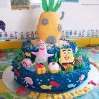 Sponge Bob Squere Pants A cake for my little boy's school party , all made out of plastic icing. It took quite a while but was well worth it in the end. The...
