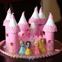 Disney Princess Castle I made this cake and princesses out of plastic icing. It took me hours but was well worth the effort. My little girl loved her cake !!!!