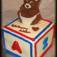 Bear On A Block I made this for a friend who just had her baby. I've been wanting to to the mini-bear I bought. It's my first attempt at a block...