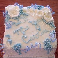 Italian Cream Retirement Cake This is an Italiam Cream Cake with cream cheese/whipped cream icing.Buttercream decorations. So rich and yummy! Made with 2 layers, 10x10...