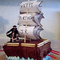 Pirate Ship Birthday cake for a 5 year old. Chocolate cake...of course....;-) with chocolate buttercream frosting.