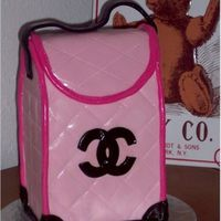 Chanel Purse Dummy cake with royal icing and MMF. I know this is not a designer looking purse, but I thought that the Chanel logo would look pretty on...