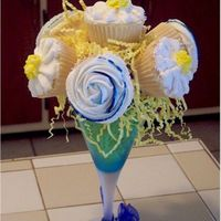 Cupcake Bouquet This is a first one for me :P My mother in-laws favorite is flower is a daisy and her favorite color is blue. I used a plastic goblet that...