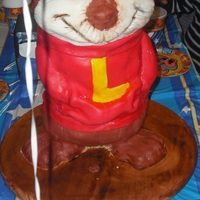 "Chipmunk Cake Head to waist is all cake with RKT ears. The waist down is constructed of wood, styrofoam, and RKT. The ""L"" is for the birthday..."