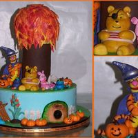 "100 Acre Halloween Pooh and friends halloween! All figures and decorations made from fondant except candy corns and pretzel ""sticks."""